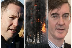 Sinn Fein MP Chris Hazzard (left) has attacked British MP and Leader of the House of Commons, Jacob Rees-Mogg over comments he made about the people who lost their lives in the Grenfell Tower tragedy in June 2017.