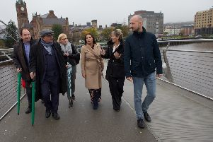 MEPs from across Europe on the Peace Bridge in Derry. (Photo - Tom Heaney, nwpresspics)