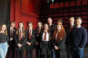 Limavady High School's GCSE and A level drama students pictured with director Kieran Griffiths and actor Daniel McCafferty on their recent visit to The Playhouse.