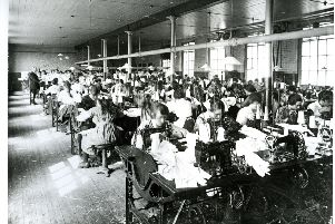 A Derry shirt factory in the 1920s. Stanley Baldwin called a December 1923 election because he wanted to introduce tariffs on imports he felt were contributing to unemployment.