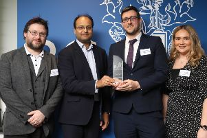 Pictured at the Royal College of Psychiatrists Annual Awards event are members of the Western Trust's Grangewood Crisis Service Team Dr Noel Crockett; Dr Chris Sharkey and Roisin O'Hanlon who were named Team of the Year - Quality Improvement.