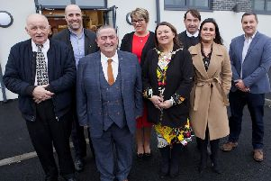 The Mayor, Councillor Michaela Boyle, with council officers and members of the Leafair Community Association at the launch of the new Leafair Well-Being Village.