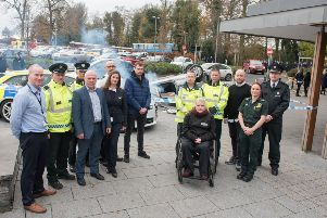 Emergency services partners, representatives of the Derry and Strabane PCSP and speakers pictured at the Roadsafe Roadshow