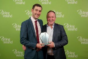 Foyle Cycling Club Chairperson, Ronan McLaughlin,  and National Race Director, Chris McElhinney, receiving the Cycling Ireland Award for Race Event of the Year at the 2019 Cycling Ireland Awards in the City West Hotel in Dublin.