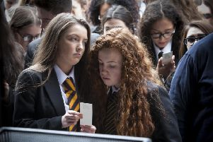 Local students pictured during a previous Day of Reflection in Guildhall Square. DER2116MC011