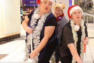 Staff at the North West Regional College performing in the Techs first ever Christmas video.