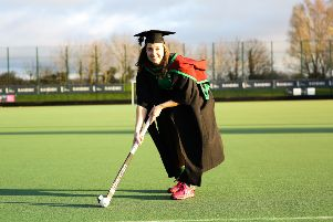 Ireland hockey player Megan Frazer who will graduate from Ulster University with an Msc in Biomedical engineering this month