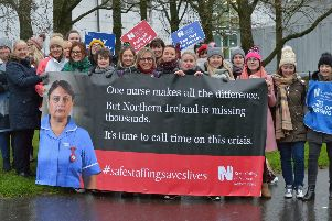 Nurses from the Royal College of Nursing union strike at Altnagelvin Hospital on Wednesday morning. DER5119GS - 007