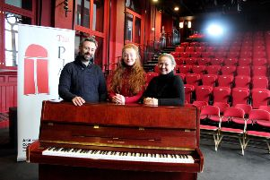 Recipient of The Aloysius Fund for Theatre by The Playhouse Faye Deering (centre), pictured with Playhouse Theatre Producer and Director Kieran Griffiths and Playhouse founding director Pauline Ross.