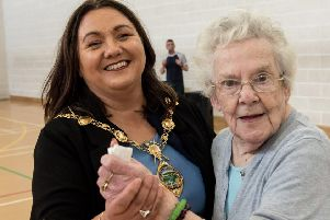 "The Mayor Councillor Michaela Boyle with Vera Watters pictured during the Mayor�""s Tea Dance  as part of ��Creggan Fun Day�"" celebrations in Central Drive. Picture Martin McKeown. Inpresspics.com. 20.06.19"