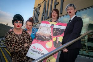 Gary Gamble, Sinead McAteer, and Claire Dunbar with Jacqueline Doherty, Alley Theatre manager, at the launch of the Alley's Spring programme.