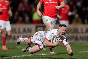 Ulster's John Cooney scores a try against Munster