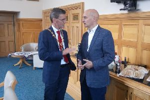 Andrew Adonis with the former Mayor, John Boyle, in Derry in 2018.