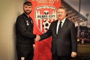 Derry City chairman Philip O'Doherty congratulates Paddy McCourt, on his new role as the club's Technical Director.