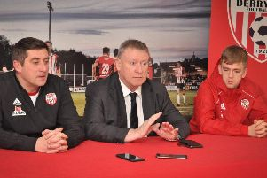 Derry City manager, Declan Devine, chairman, Philip O'Doherty and midfielder, Ciaron Harkin at Monday afternoon's press conference.