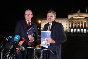 Secretary of State for Northern Ireland Julian Smith and T�naiste Simon Coveney in Belfast. (Photo by Kelvin Boyes/ Press Eye)