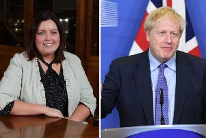 New Communities Minister, Sinn Fein MLA Dierdre Hargey and UK Prime Minister Boris Johnson.