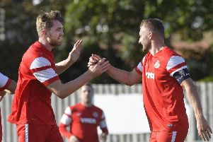 Callum Donaghey's (left) equaliser was deemed fruitless as Horley recovered to beat Horsham YMCA