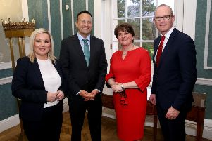 Mr Varadkar pictured yesterday at Stormont with First Minister Arlene Foster and deputy First Minister Michelle O'Neill and T�naiste Simon Coveney.  Photo by William Cherry/Presseye