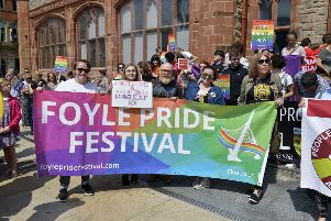 Members of Foyle Pride pictured at a previous Marriage Equality Rally held in the Guildhall Square.  DER2218GS065