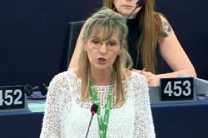 Martina Anderson making her last ever speech in Strasbourg.