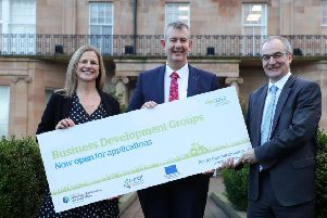 Agriculture, Environment and Rural Affairs Minister encourages farm businesses to apply to the Business Development Groups Scheme before the extended closing date of 4pm on Friday 31 January 2020. Also pictured are Martin McKendry, CAFRE Director and Fiona Dickson, Agri-business Branch.