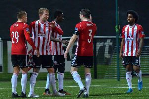 Derry City celebrate their opening goal against Finn Harps.