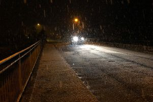 There was snowfall across higher ground this morning making driving conditions difficult in some areas (file pic).