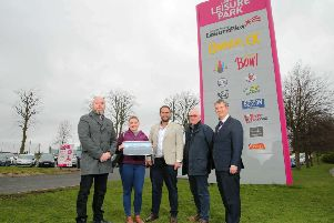 Pictured (l-r) are Kieran Beazley, architect; Fiona Morgan, Ebony Developments Ltd; Councillor Luke Poots, Chairman of the council's Planning Committee; Joe Tumelty, Ebony Developments Ltd and Edwin Poots MLA.