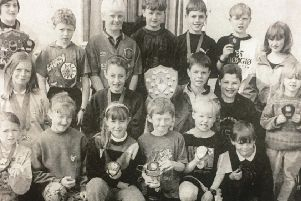 Prizewinners at Tullymacarette Primary School sports day in 1995.