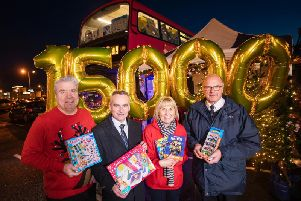 Johnny Hero, Presenter, U105, Chris Conway, Group Chief Executive, Translink, Pauline Brown, Regional Manager, St Vincent De Paul and Major Paul Kingscott, Divisional Leader, Salvation Army