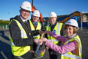BREAKING NEW GROUND: Building work on Southern Regional College's new �15 million educational campus in Banbridge started in earnest this week after preparatory works on the Castlewellan Road site were completed on schedule to allow full construction to begin. The new purpose-built campus, which forms part of a �95 million investment by SRC and the Department for the Economy to create three new state-of-the-art educational campuses across the Armagh City, Banbridge and Craigavon area, will open next year. Pictured with Beverley Harrison, director of further education at the Department of the Economy are (l-r) Deputy Lord Mayor of Armagh City, Banbridge and Craigavon Cllr Paul Duffy, Brian Doran, chief executive of Southern Regional College and O'Hare & McGovern managing director Martin Lennon.
