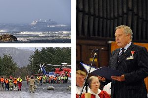 Top-left, MV Viking Sky stranded off the coast of Troms, bottom-left, passengers on safe ground after being evacuated and, right, former Havant Borough Council Leader Michael Cheshire. Pictures: PA Wire: Odd Roar Lange / NTB scanpix via AP, and Malcolm Wells