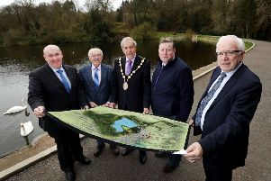 Ald William Leathem, chair of the council's Development Committee; Ald Jim Dillion MBE JP, chair of the council's Capital Projects Committee; Mayor Uel Mackin; Ald Paul Porter, chair of the council's Leisure & Community Development Committee and Ald Allan Ewart MBE, vice-chair of the council's Development Committee at Hillsborough Forest.