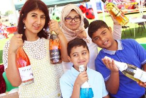 Gatwick International Food Festival. Maria Shah, left and Tara Paul and her children Deen 9 and Humza 10. Photo by Derek Martin Photography