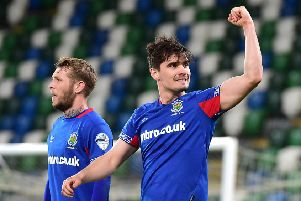 Jimmy Callacher scored two goals for Linfield against Crusaders. Pic by Pacemaker.