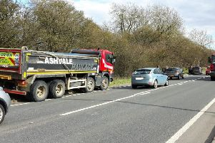 The incident on the A5 through Hockliffe where a collision, involving an Ashavle truck and an Astra, occured