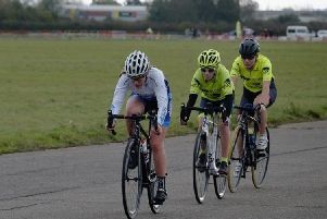 Katie Pamphlett hits the front before riding to third place