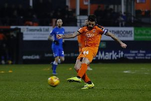 Alan Sheehan goes for goal against Peterborough on Saturday