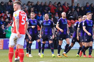 George Moncur celebrates his goal at Fleetwood on Saturday