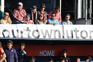 #saveourtown with a banner above the dug out during Luton's game with Coventry last week