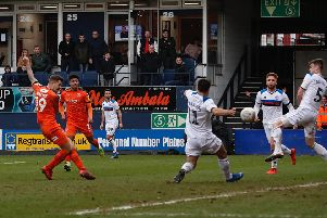 James Collins scores his 20th goal of the season for Luton on Saturday
