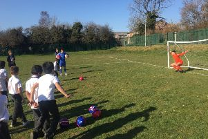 Dunstable Town FC and St Marys Primary School took part in a penalty shoot out