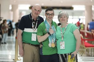 Patrick Quinlivan shows off the two Gold and five Silver Medals that he picked up in Gymnastics. Photo Credit: Ricardo Guglielminotti / Special Olympics Ireland