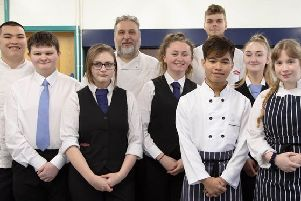 Level 3 Professional Cookery and Level 3 Supervision in Food and Beverage Services students from South Eastern Regional College's Bangor Campus are celebrating after winning the Best Student Teamwork award and a bronze medal at the HEAT: Culinary Competition Final which took place in Jersey. Front row (left to right): Phandon Wichianrak and Eileanoir Blair. Middle row (left to right): Joshua McCready, Claire Lipton, Jemma Barclay and Megan Kirk. Back row (left to right): Danny Bunphaung, Brian Magill (lecturer) and Ryan Allen