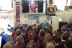 Class One skyping with farmer Christopher Foster PHOTO: Supplied