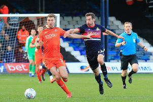 Hatters full back Jack Stacey on another charge forward