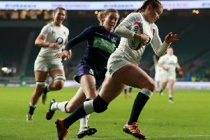 Jess Breach on her way to an England try against Scotland / Picture by Getty Images