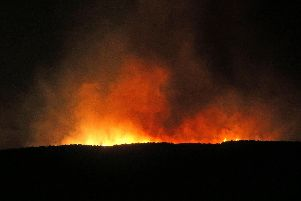 Wildfire rages across the Slievenorra Mountain near Cushendall on Monday night. Picture Steven McAuley/McAuley Multimedia