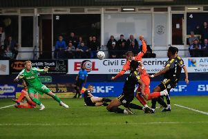Elliot Lee scores for Luton during Tuesday night's 2-2 draw with AFC Wimbledon
